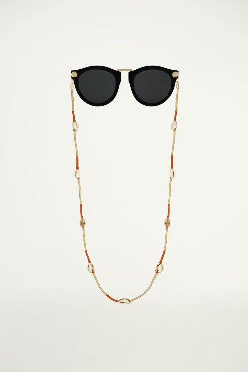 Bruin zonnebrilkoord touw & schelp, zonnebrilkoordje