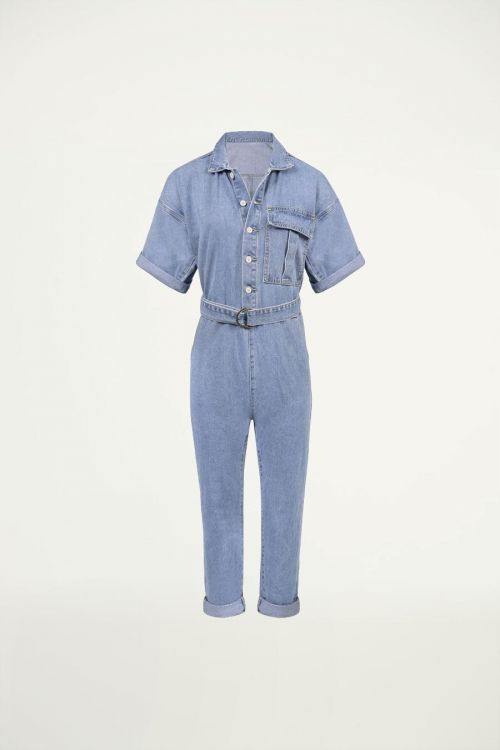 Denim jumpsuit korte mouw, denim jumpsuit
