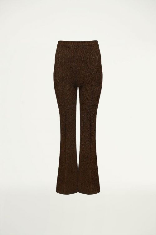 Flared broek lurex brons, wijd uitlopende pijpen
