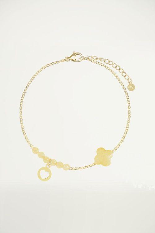 Yellow fine bracelet clover, Beaded bracelet