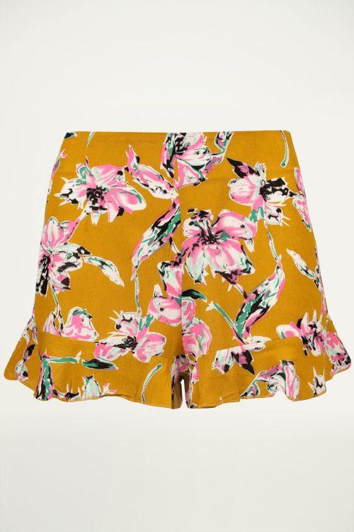 Gele short met bloemen, gele short
