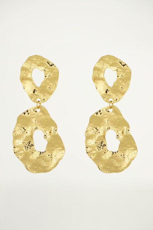 Gouden oorhangers open ovaal, statement oorbellen