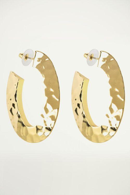 Gouden oorringen ovaal, statement oorbellen