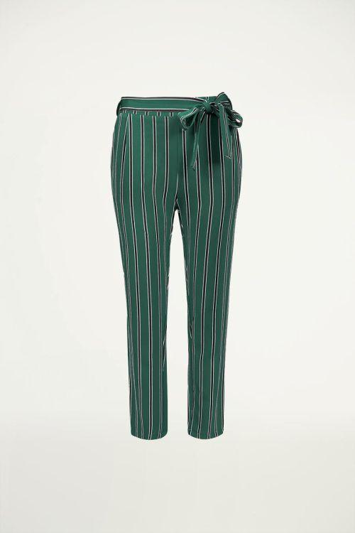 Groene gestreepte pantalon, nette broek