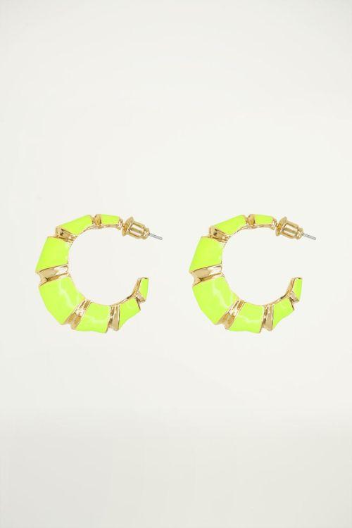 Groene oorringen gestreept, groene oorbellen
