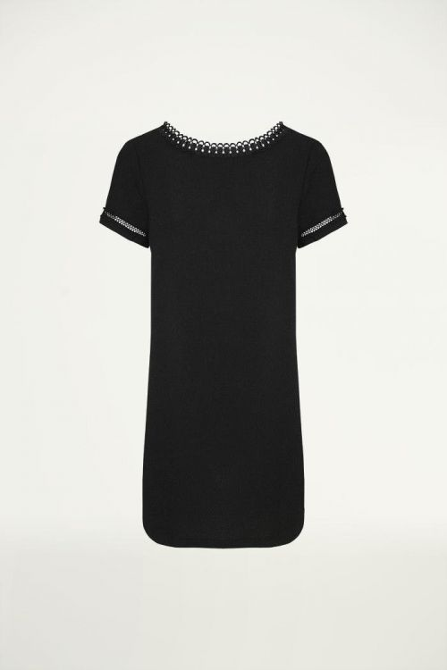 Jurkje open rug kanten rand zwart, jurken