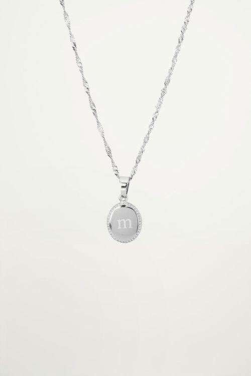 Ketting met letter in bedel zilver, ketting met hanger
