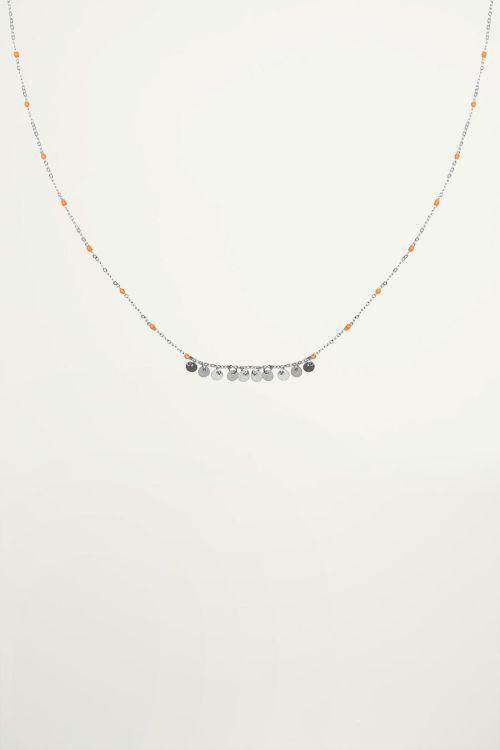 Ketting oranje kralen muntjes, coin necklace