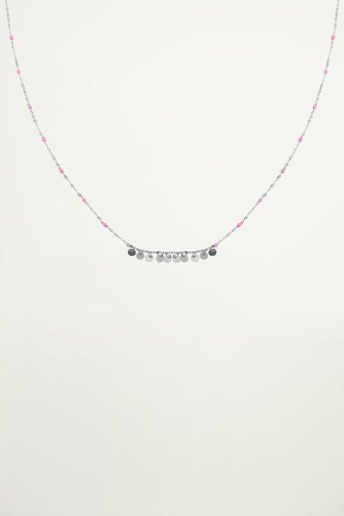 Ketting roze kralen muntjes, coin necklace