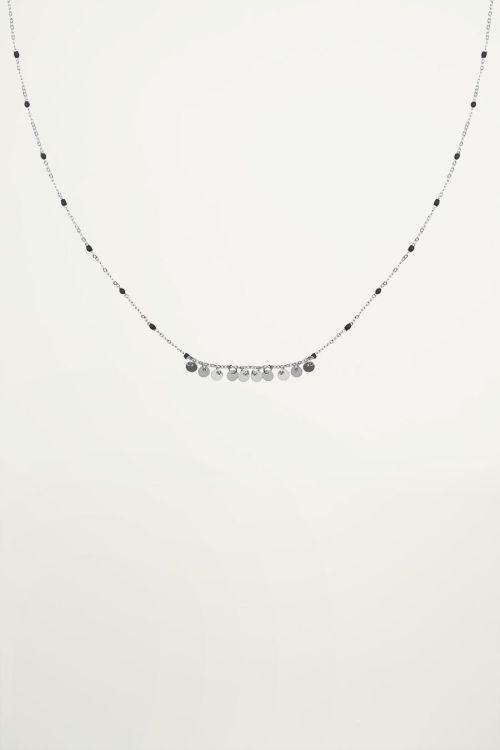 Ketting zwarte kralen muntjes, coin necklace