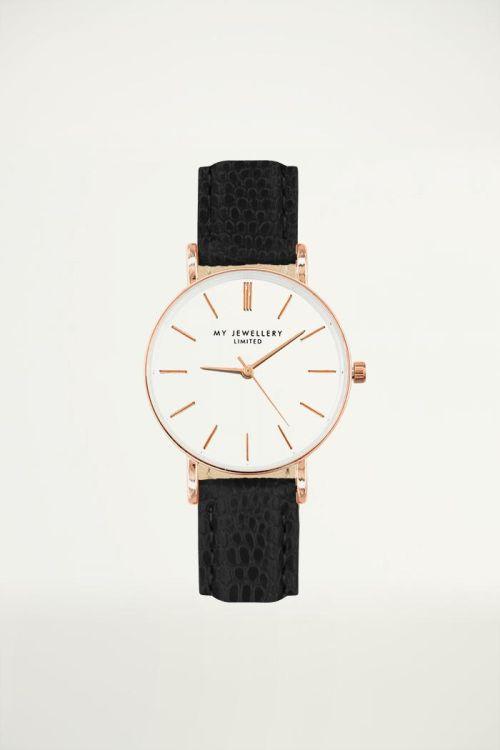 Klein horloge in zwart met slangenprint, smal horloge