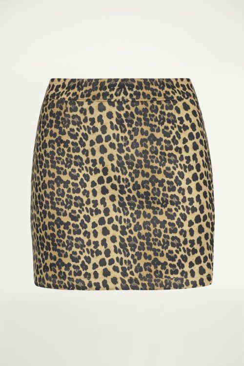 Leopard rok suedine zwart bruin, Rokje