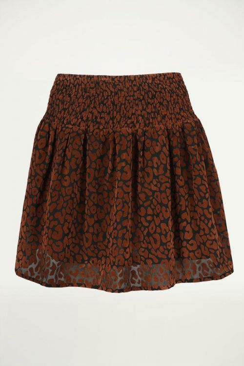 Luipaard Rokje Zwart met Bruine Print, Rokjes