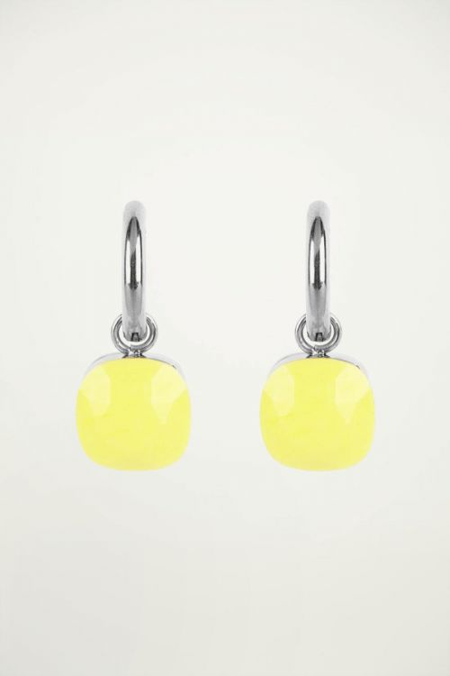 Oorringen gele steen, oorringen steen