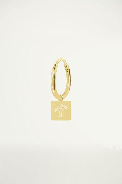 Hoop earring with palm tree charm, earrings