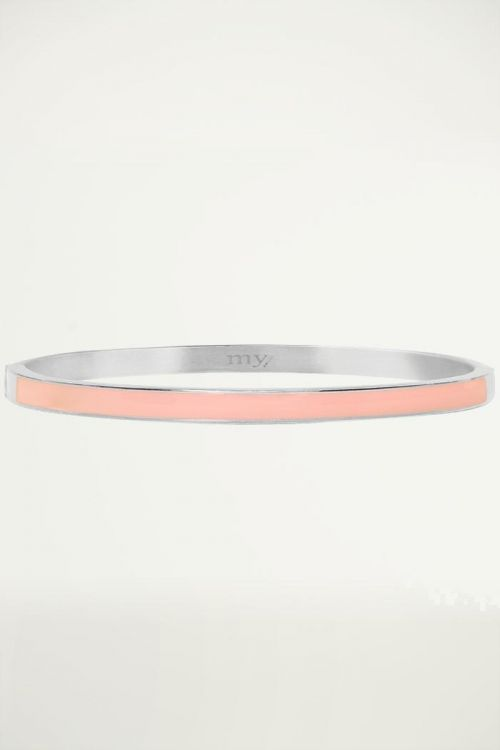 Peach bangle smal, roestvrijstalen armband