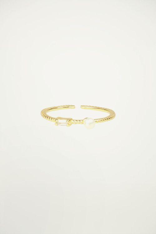 Ring strass & parel, minimalistische ring