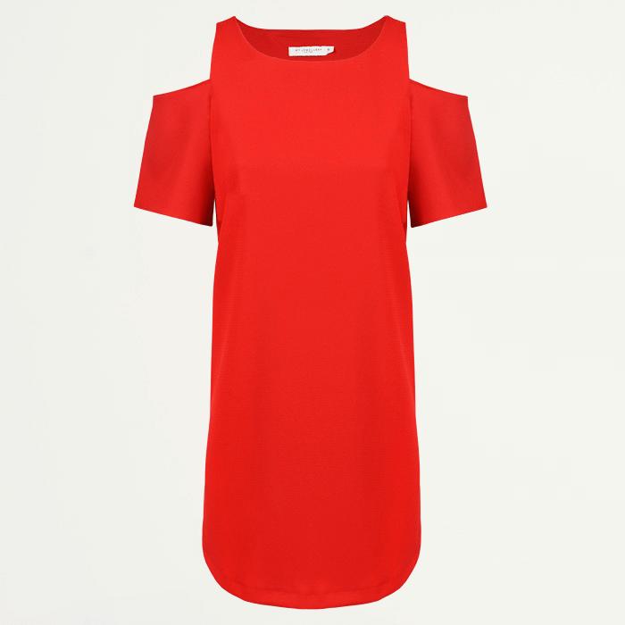 Rode jurk, open shoulder jurk, A lijn jurk