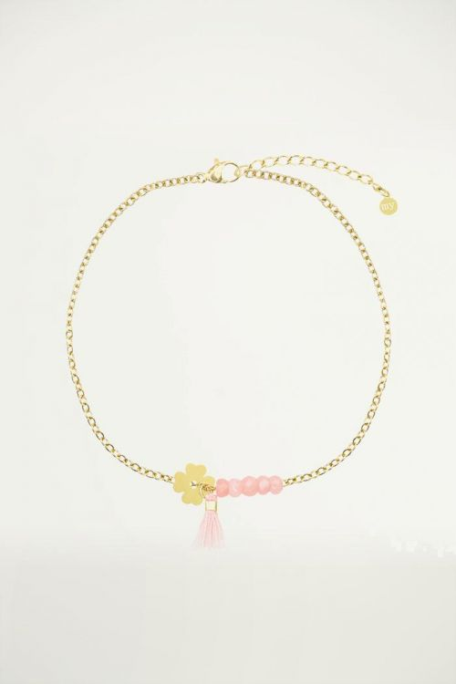 Roze klaver armband, Kralenarmbandjes