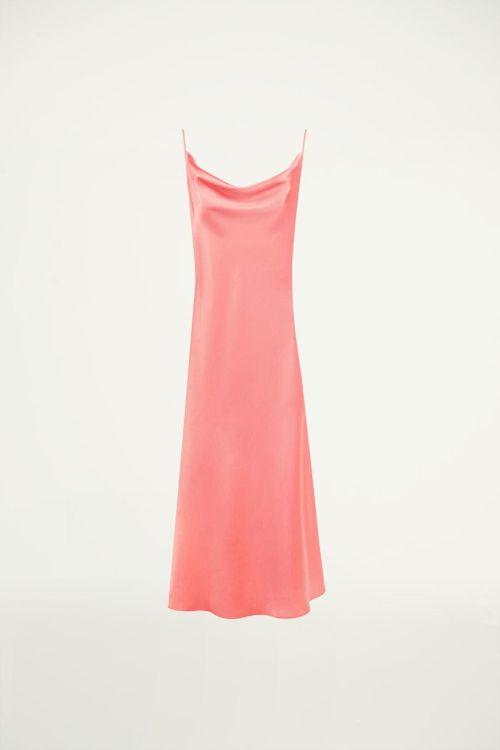 Roze slipdress met watervalhals, slipdress