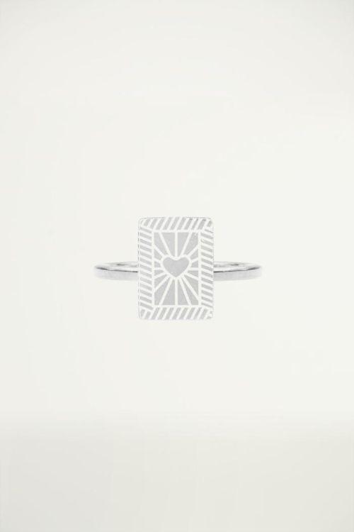 Stalen Ring Rechthoek Hart, Minimalistische Ringen