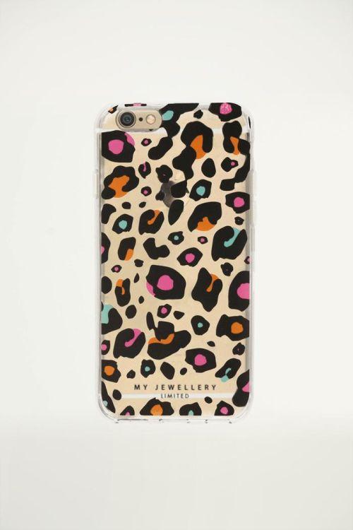 Telefoonhoesje gekleurd panter print, hoesjes