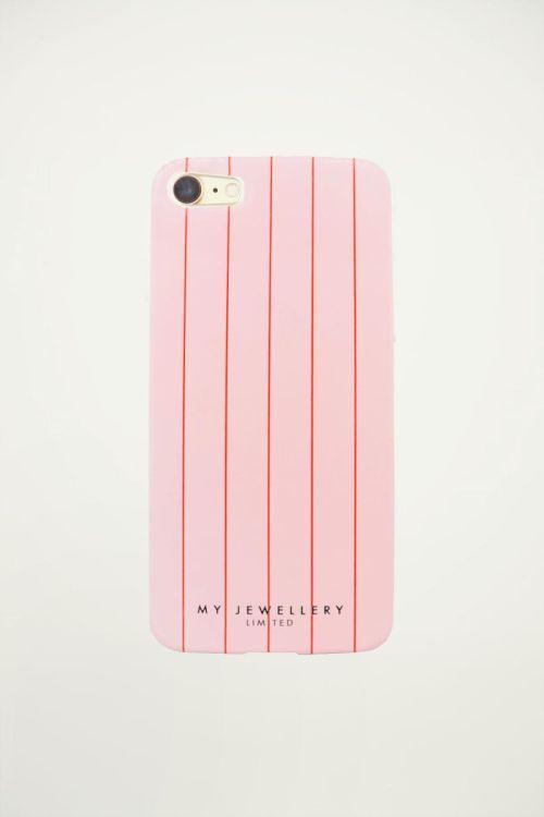 Telefoonhoesje roze/rood gestreept, softcase
