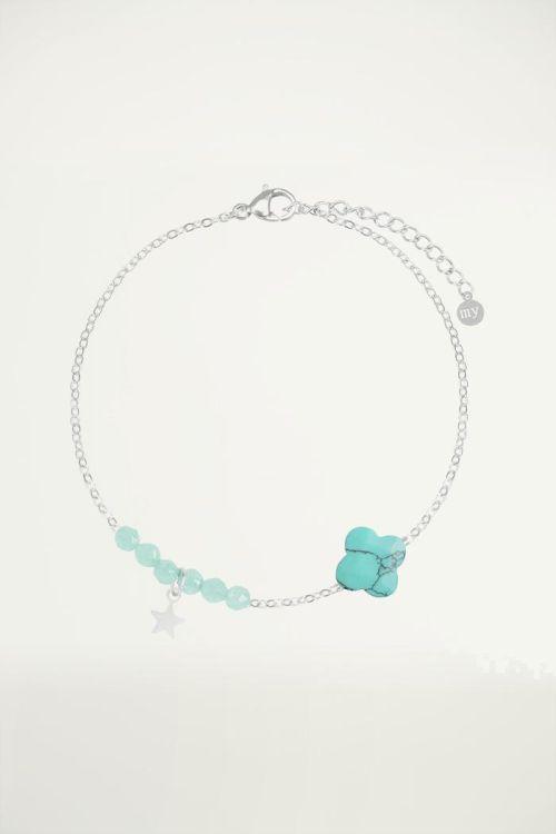 Turquoise fijne armband klaver, Kralenarmbandje