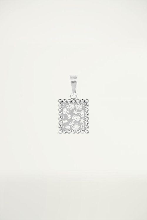 Vierkant bedeltje met roosjes erop geprint, custom collection