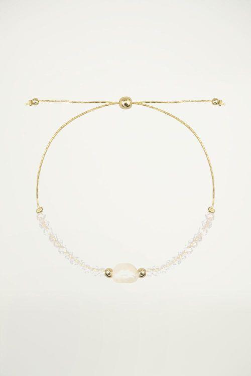 Witte armband parel & kralen, Kralenarmband