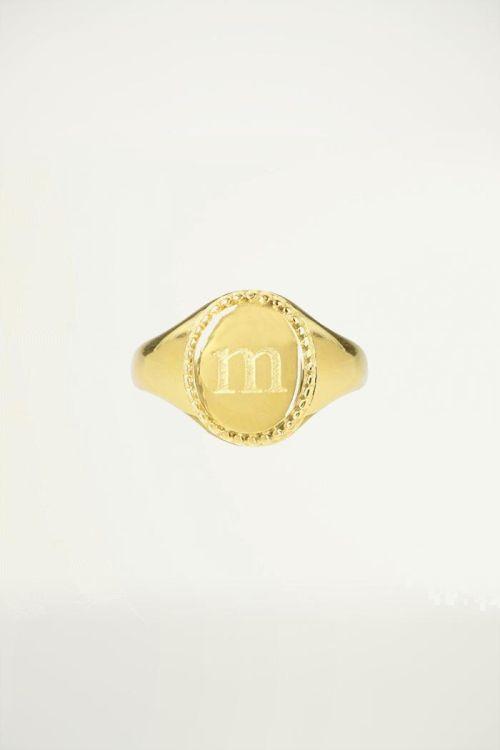 Zegelring initial letter goud, ringen