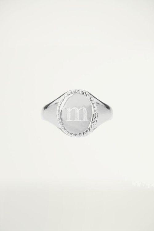 Zegelring initial letter zilver, ringen