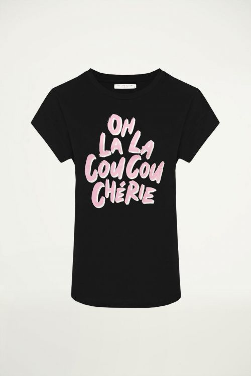 Zwart boyfriend shirt oh la la, oversized t-shirt | My Jewellery
