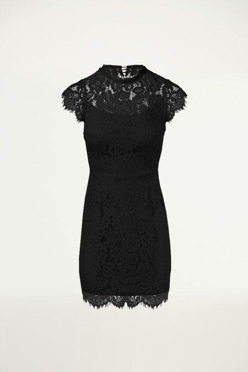 Zwart kanten jurkje open rug, Feestjurken