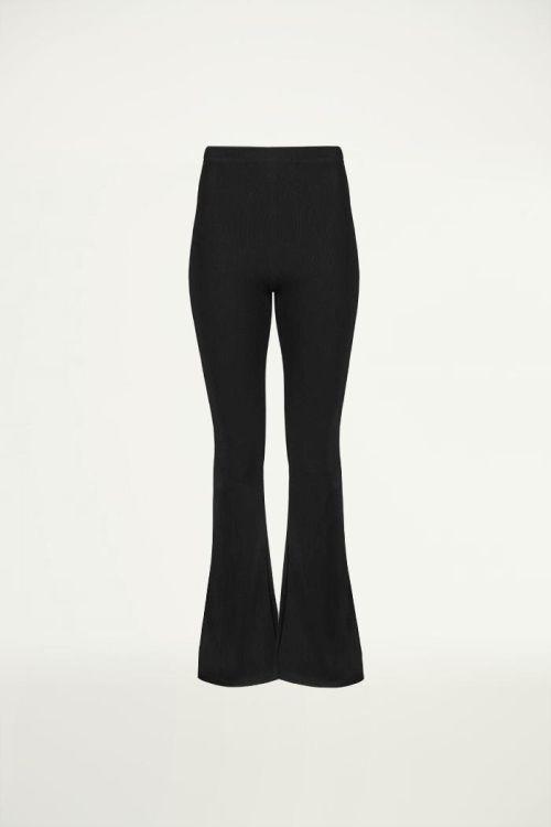 Zwarte flared broek met rib, Broeken