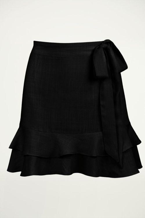 Zwarte rok met laagjes, ruffle rokje