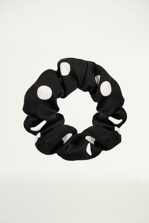 Black scrunchie with polka dots