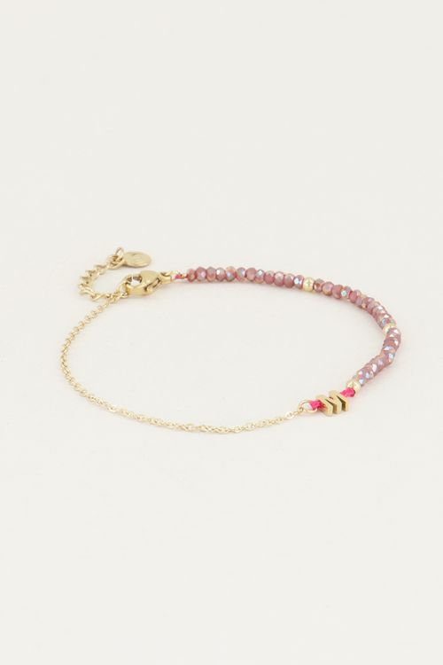 Paarse kralen armband met initial | Paarse armband My jewellery