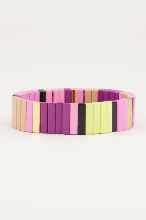Bracelet with wide flat beads, pink bracelet My Jewellery