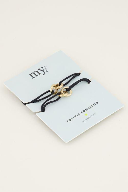 Zwarte forever connected armband   Vriendschap sieraden My Jewellery