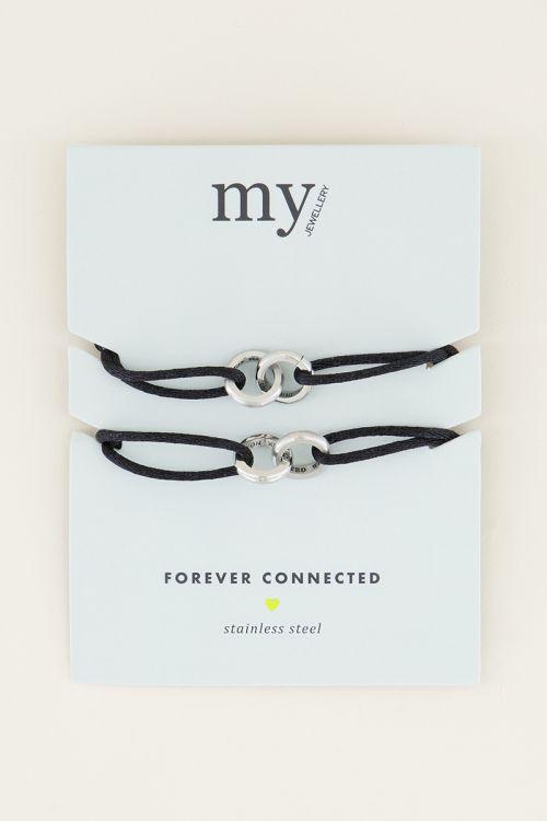 Zwarte forever connected armband | Vriendschap sieraden My Jewellery