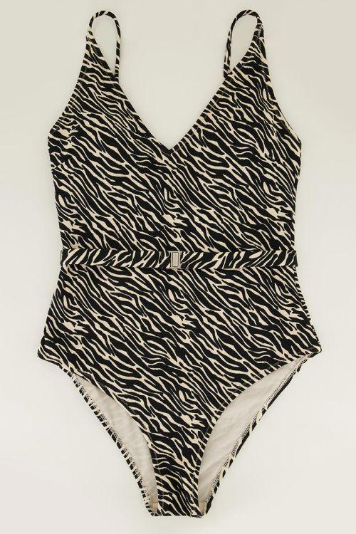 Zwart-wit zebra badpak met riem