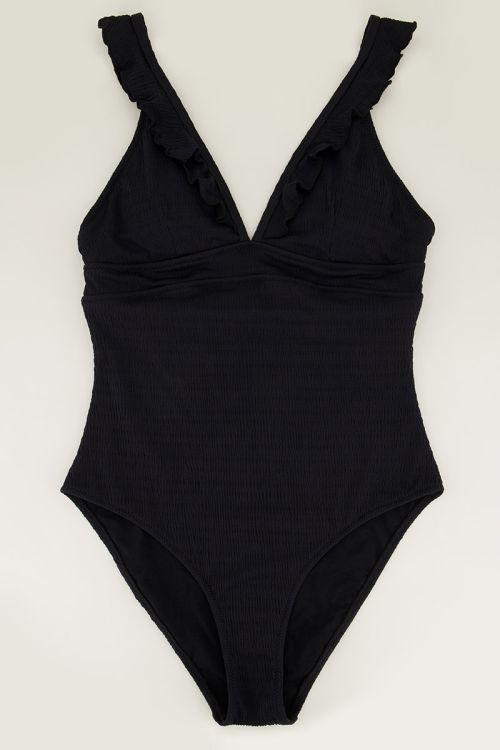 Zwart badpak met frills