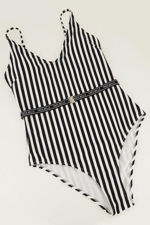 Badpak met zwart-witte strepen