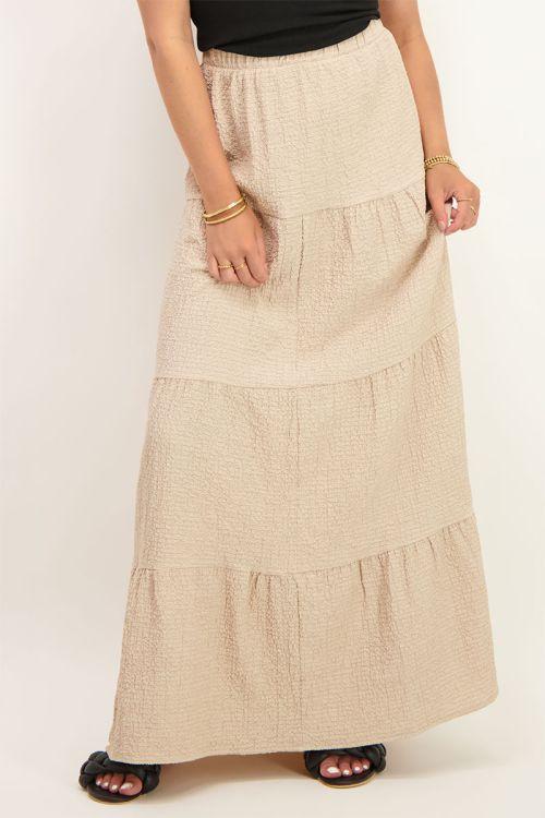 Beige maxi rok met lagen | lange jurk | My Jewellery