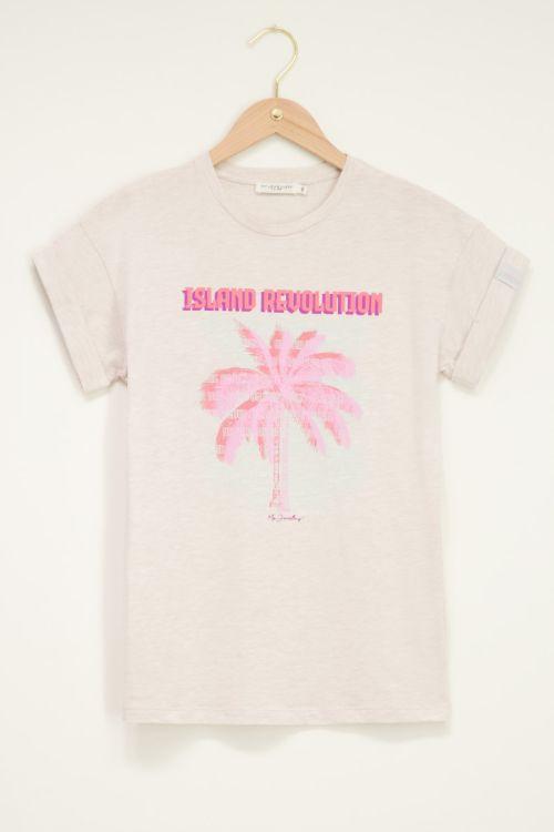 Beige t-shirt met palmboom Island Revolution