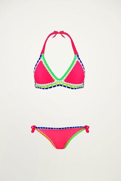 Bikini boho ibiza roze, Triangel bikini