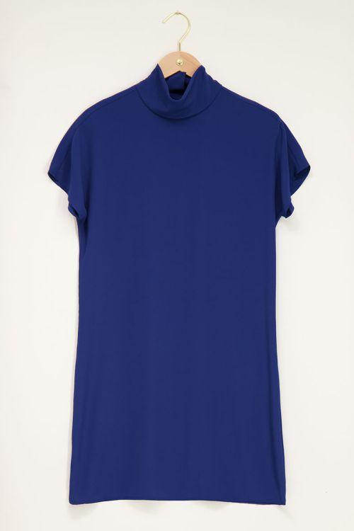 Blauwe jurk met colletje mouwloos | My Jewellery