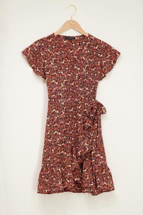 overslag jurkje met bloemenprint oranje