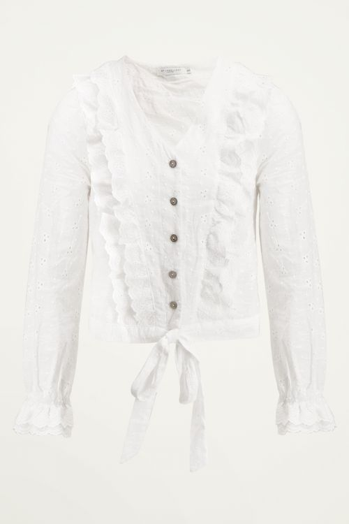 Blouse ruffle & knoop, broiderie blouse My Jewellery